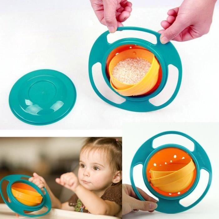 bébé bol gyroscope non déversement bol enfant en bas âge d'alimentation gyro de céréales 360 rotation éviter de renverser des alimen