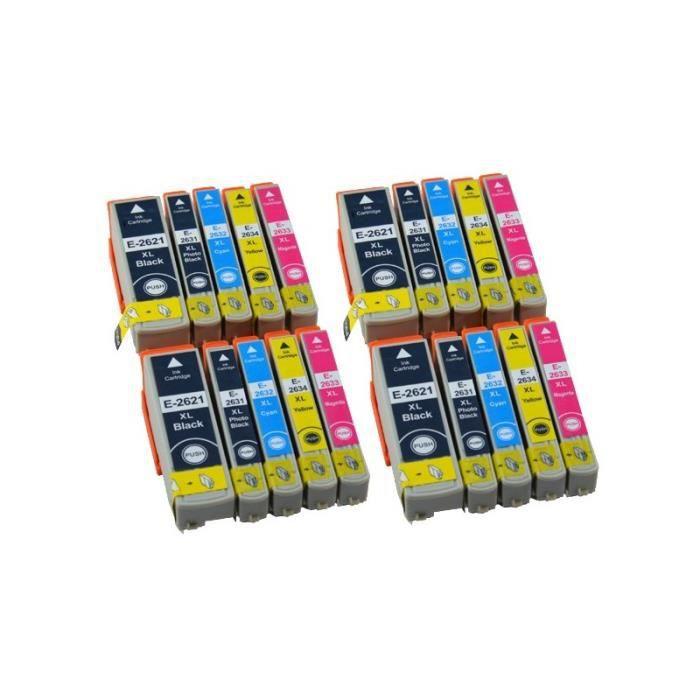 Pack de 20 cartouches d encre EPSON compatible T26XL.