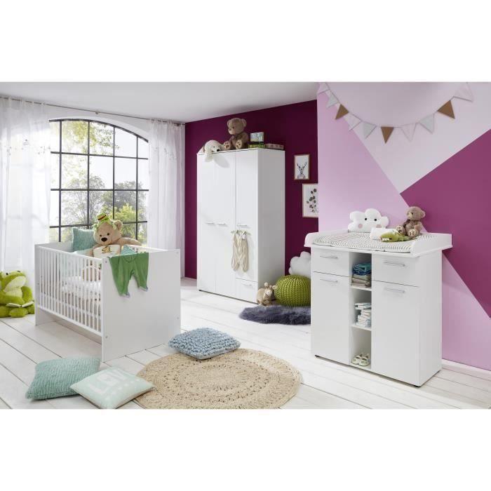 CLEVER Chambre complète bébé : lit 70*140cm + commode + armoire
