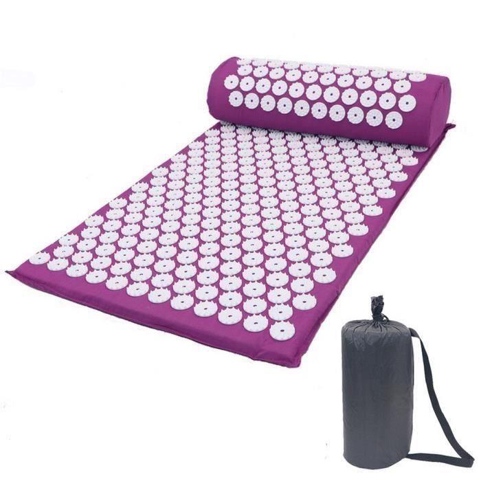 Letouch Tapis de yoga pour relaxation musculaire, tapis de massage sportif, tapis d'acupuncture avec oreiller et sac (Violet)
