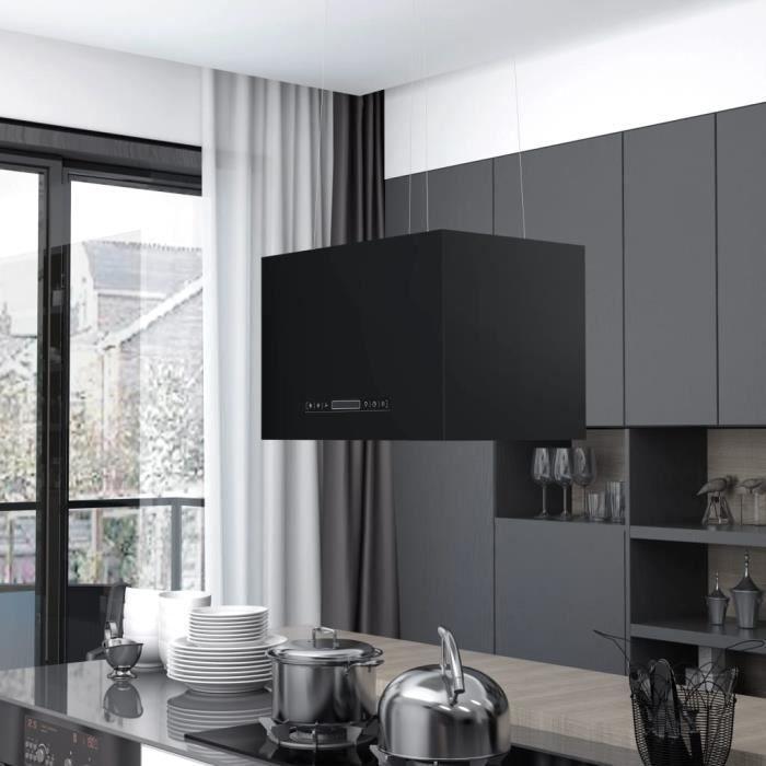 Hotte aspirante cuisine Hotte suspendue à LCD tactile - 756 m³ - h- 3 vitesses Hotte décorative 55 cm Acier enduit de poudre♫1891