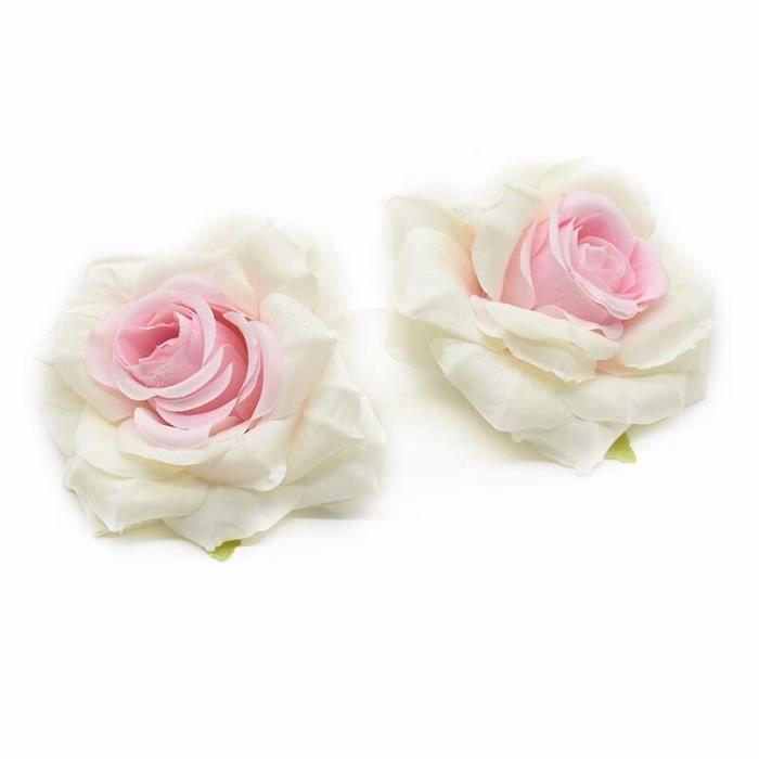 Grosses roses fausses têtes 2 pièces, Liquidation d'accessoires de mariée, fleurs décoratives pour décoration de noël - 9