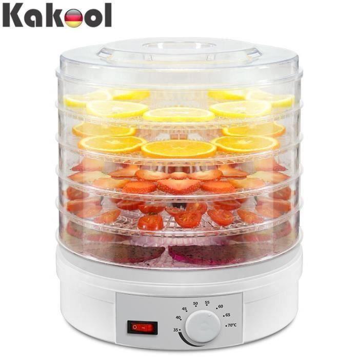 Deshydrateur aliments 350W 5 couches séchoir à fruits herbes légumes diamètre 28cm température réglable Bo33114
