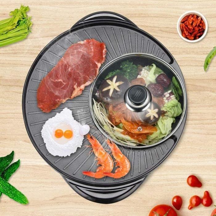 2 En 1 Fondue Electrique Hot Pot BBQ Appareil Fondue Chinoise Service à Fondue Poêle Electrique Capacité Convient Pour 5-6 Personnes