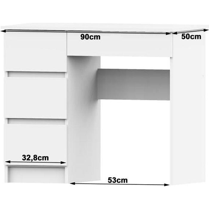 DARYA - Bureau contemporain 90x77x50 cm - 4 tiroirs larges - Table ordinateur multi-rangements - Design moderne & fonctionnel - Bla
