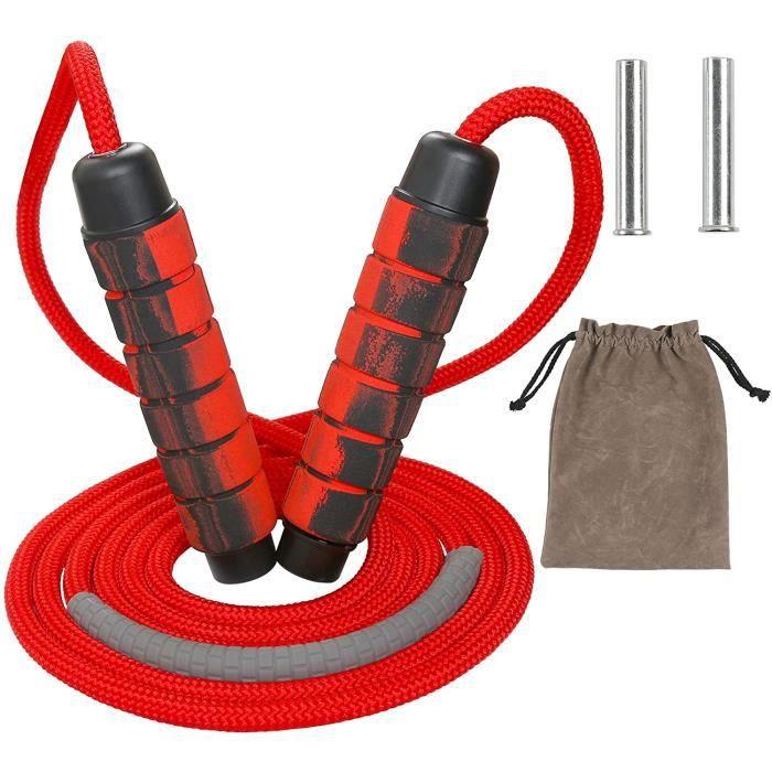 Corde à Sauter Rouge Jump Rope Réglable Accessoires pour Fitness et Musculation pour Sport Maison Fitness Crossfit Sport Boxe