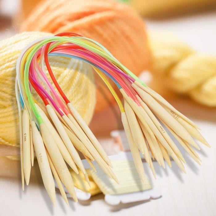 Qiilu aiguilles à tricoter en bambou Aiguille de chandail à tricoter Annulus en bambou à double pointe blanchie par tuyau