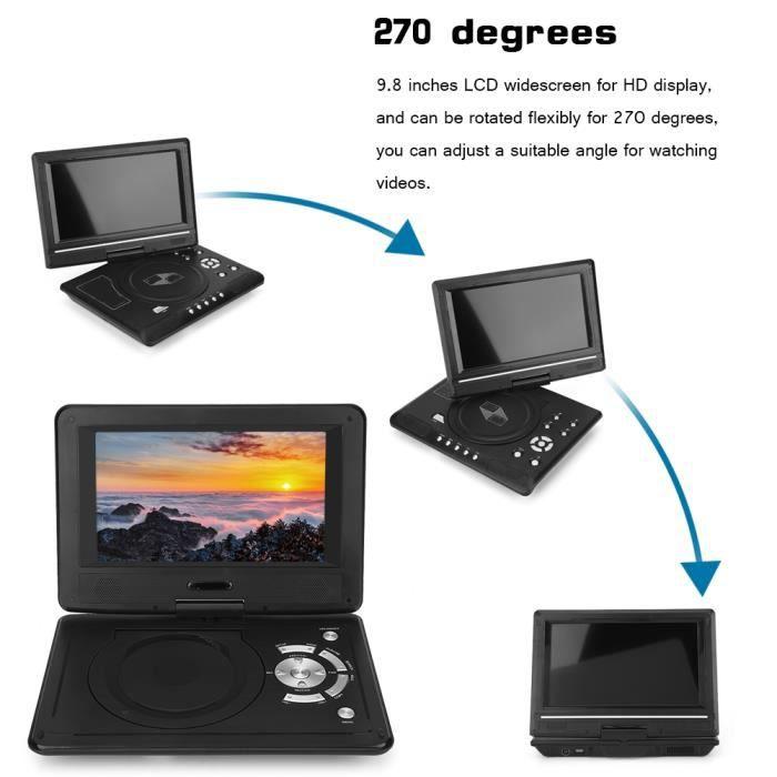 Qiilu lecteur DVD portable Portable HD 9.8 `` écran LCD lecteur DVD jeu lecteur TV récepteur radio FM avec prise ue