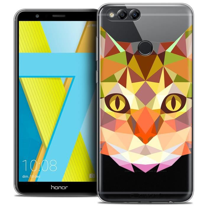 Coque Gel Honor 7X (5.9 ) Extra Fine Polygon Animals - Chat