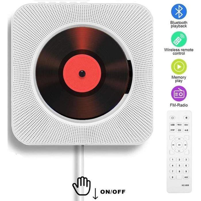Lecteur CD Portable, Bluetooth, Montage Mural, Haut-parleurs HiFi intégrés, Home Audio Boombox avec télécommande Radio FM