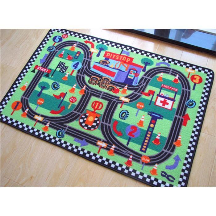 Tapis Pour Chambre Enfant Tapis de Jeu Trafic Tapis Circuit Moquette Anti-d��rapage Absorbant Vert 80x120cm