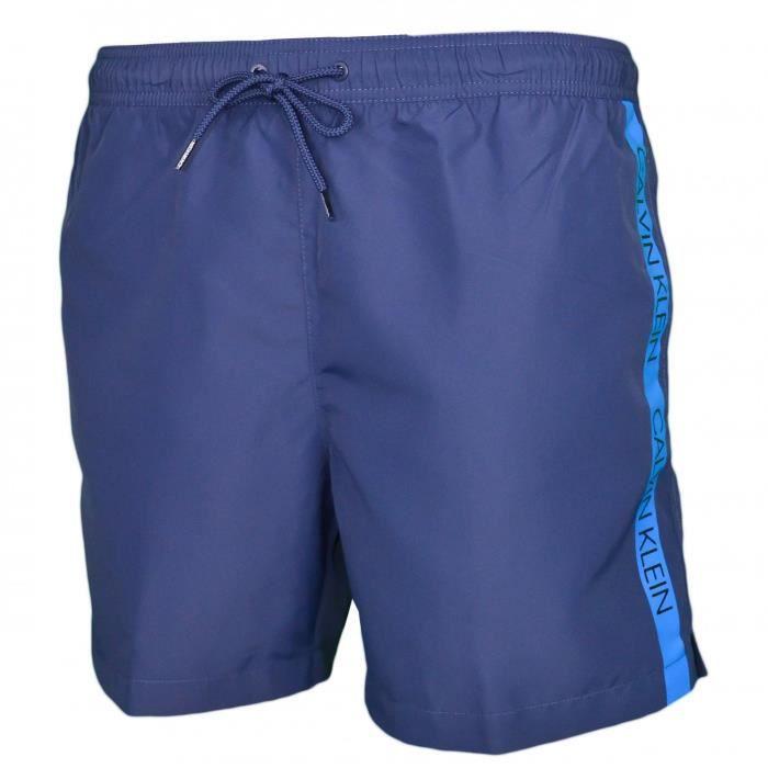 Short de bain Calvin Klein bleu marine bande bleu sur le côté pour homme - Couleur: Bleu - Taille: M