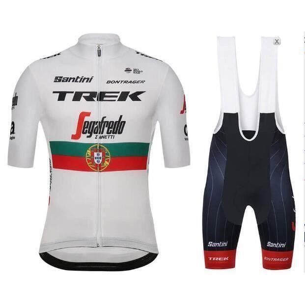 TREK Portugal Champion Maillot de Cyclisme Homme Manches Courte Equipe pro + Cuissard à Vélo GEL Combinaison VTT Ensemble d Vetement