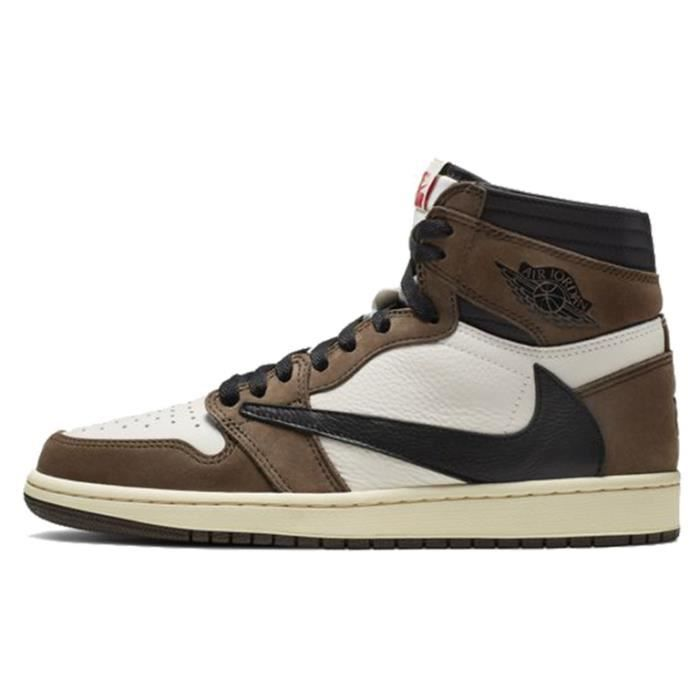Baskets Travis Scott x Air Jordan 1 High OG Chaussures de Sport pour Homme Femme Marron Blanc Noir