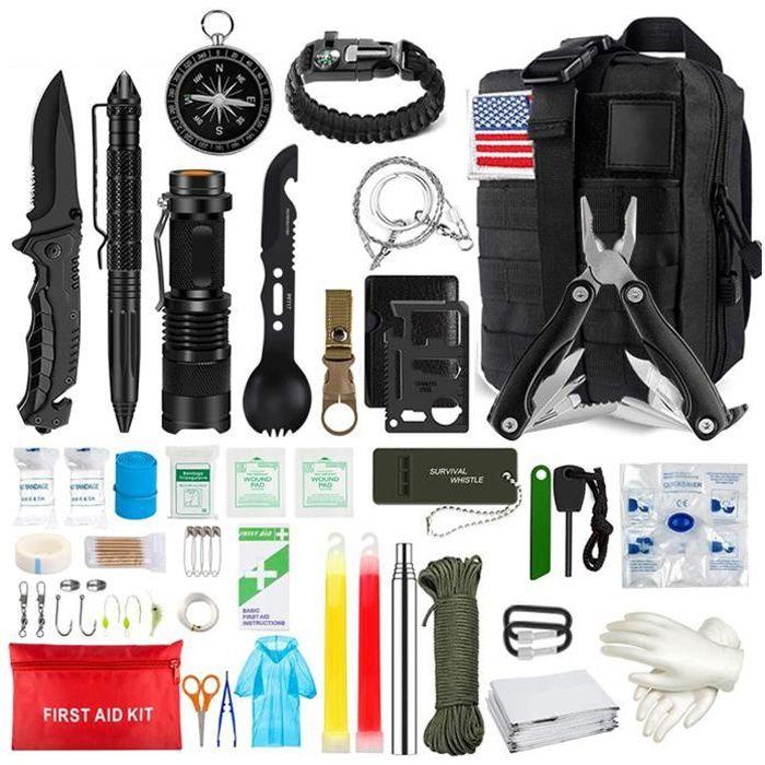 Survival Kit 33 en 1 Kits de survie d'urgence en plein air outil multifonctions Outil de survie pour randonnée (sac noir)