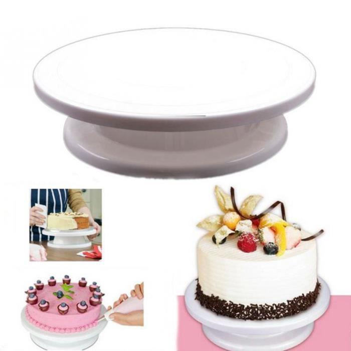 Plateau de décoration de gâteaux bricolage tournant manuellement outil de modèle de montage de gâteau en forme ronde