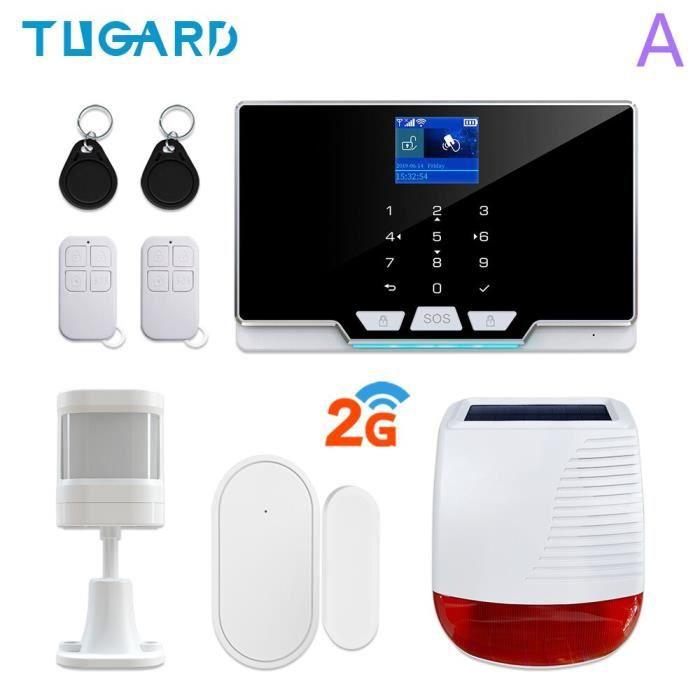 RUMOCOVO® Kit système d'alarme de sécurité domestique sans fil, wi-fi, GSM , anti-cambriolage version 2