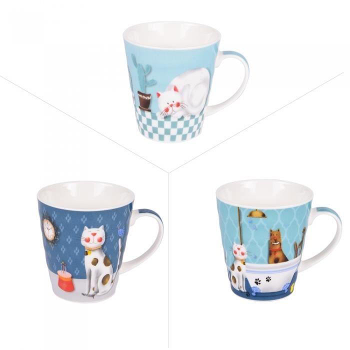 Mug cartoon cat 35 cl (lot de 3) - Trend'up Bleu
