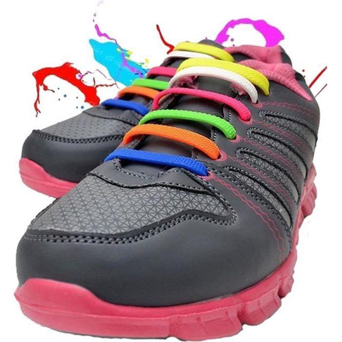 WELKOO® Lacets Elastique en Silicone Sans Lacage Etanche pour Chaussure Adults -12pcs Couleur milticouleur