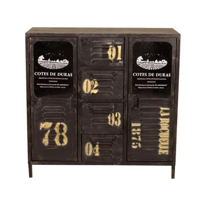 commode duras style industriel en m tal vieilli achat. Black Bedroom Furniture Sets. Home Design Ideas