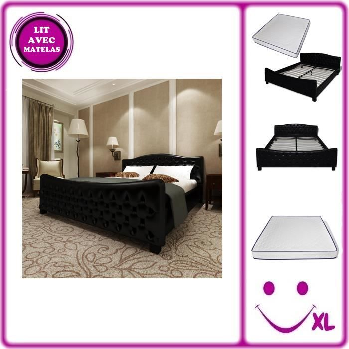 lit en simili cuir noir avec matelas m moire de forme 180 x 200cm achat vente chambre. Black Bedroom Furniture Sets. Home Design Ideas