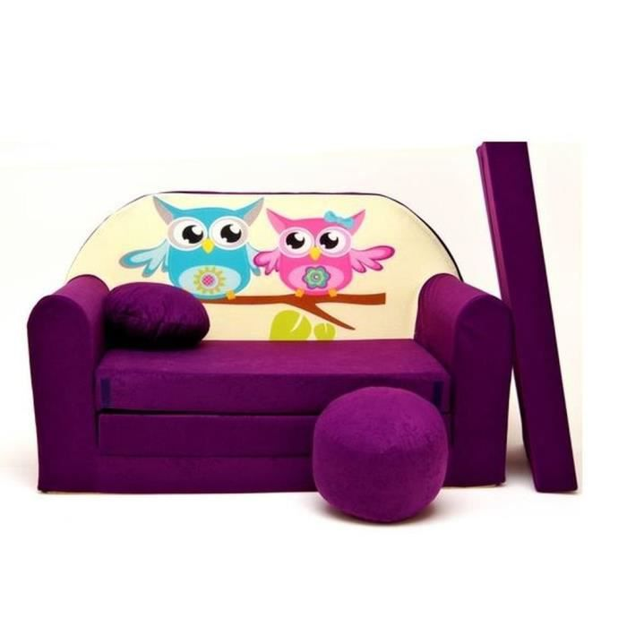 Canape sofa enfant 2 places convertible violet hiboux for Canape enfant 2 places