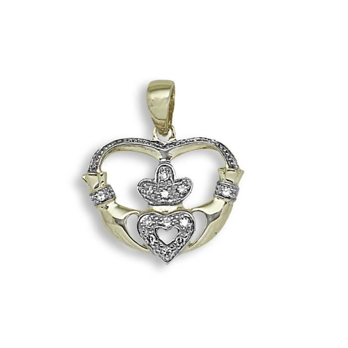 Jewelco London sans-conflit Femmes Or Jaune 9k 4 Griffes Rond Brillant H I1 Diamant Claddagh Fáinne Chladaigh Charme Pendentif