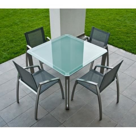 Table de jardin carre alcedo 100 achat vente salon for Table de jardin carre
