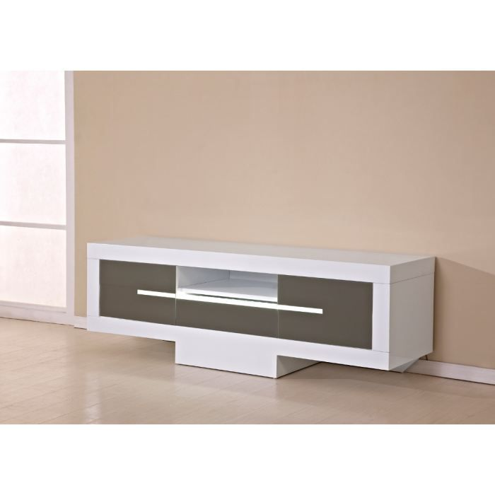 Meuble tv bas taupe for Meuble bas tv blanc