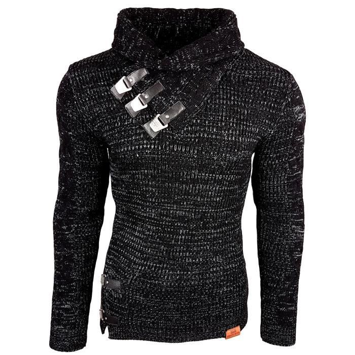 ef3068c7d2595 Subliminal Mode - Pull homme col chale avec bouton pression - Tricot grosse  maille - Col chale