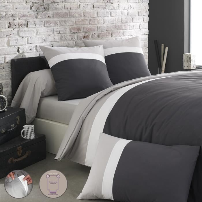 origin parure de lit m li m lo gris 1 housse de. Black Bedroom Furniture Sets. Home Design Ideas