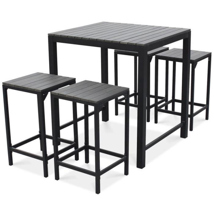 Table haute de jardin et 4 tabourets - Achat / Vente ...