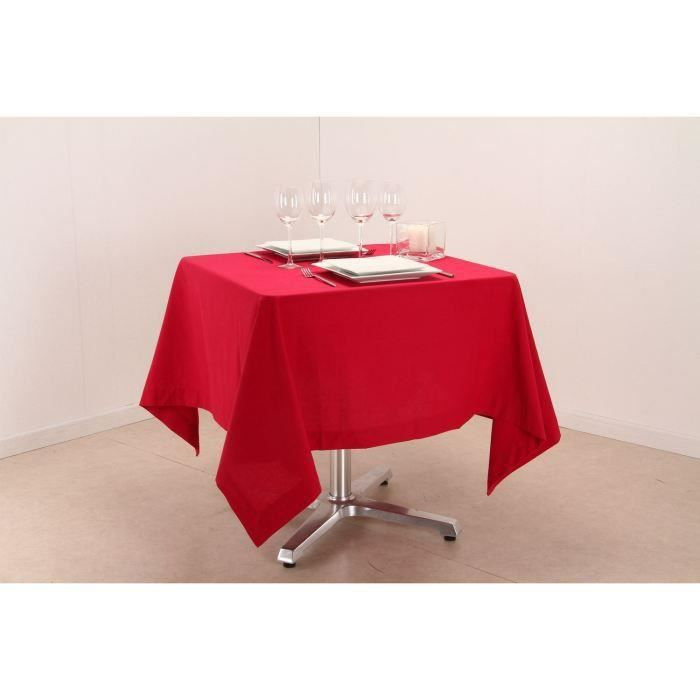 Nappe carr e en framboise 150 x 150 cm achat vente for Table carree 150 x 150