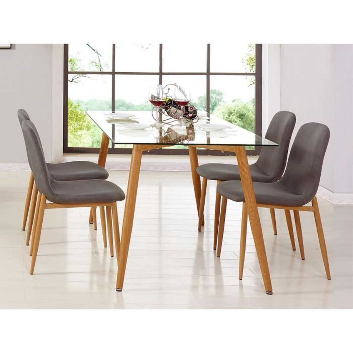 table en verre 4 chaises scandinave nordi achat vente table a manger complet table en. Black Bedroom Furniture Sets. Home Design Ideas