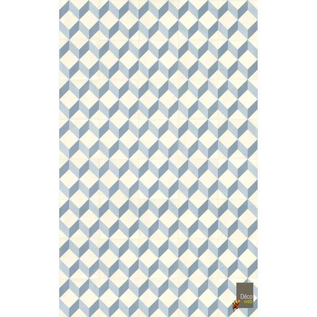Tapis Imitation Carreaux De Ciment Vinyle tapis vinyle 100 x 200 cm - carreaux de ciment cube 3d bleu