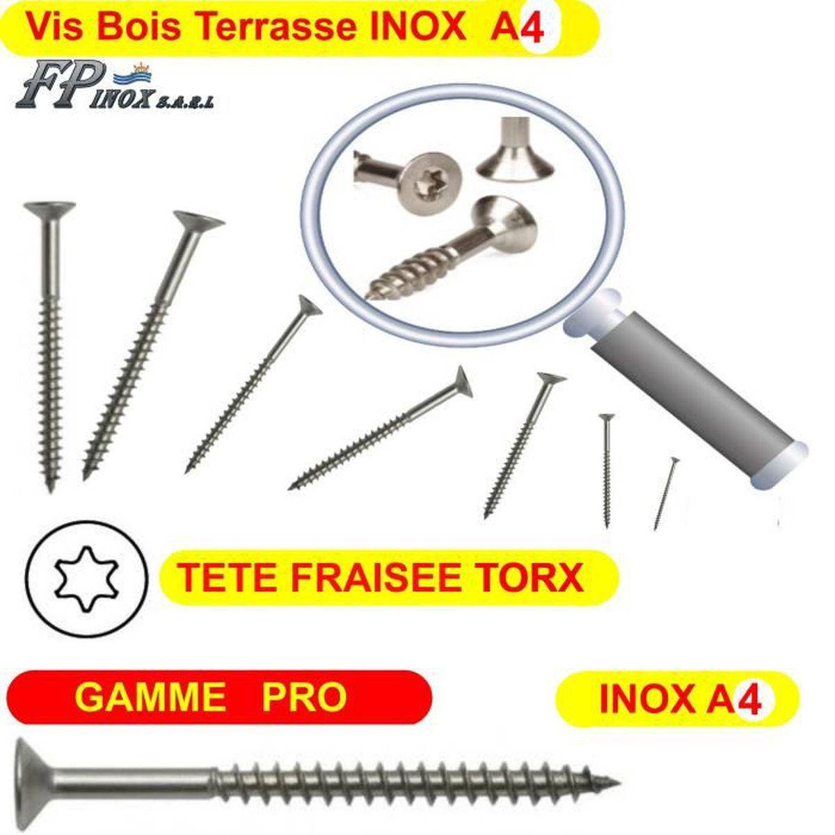 5x50 Lot 1000 Vis Terrasse INOX A2 Bois Dur Exotique GAMME PRO 5x50 5x60 5x70