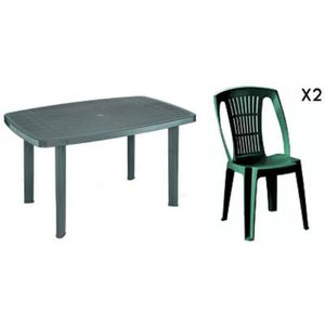 table jardin plastique vert achat vente pas cher. Black Bedroom Furniture Sets. Home Design Ideas