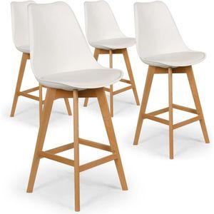 TABOURET DE BAR Lot de 4 chaises hautes style scandinave Catherina