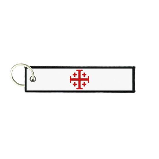 Port cles clef cle homme femme tissu drapeau croix de jerusalem templier r2