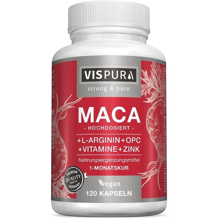 Maca VISPURA® Capsules de maca à fort dosage 5000mg + L-Arginine 1800mg + Vitamines B6, B12, OPC, zinc, 120 capsules vég 331236