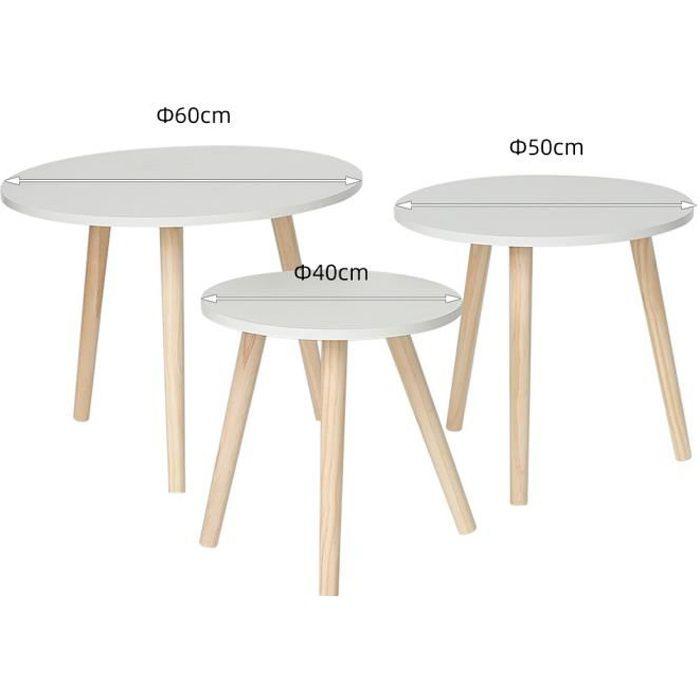 KEISHA Lot de 3 Tables basses gigognes blanches,Style contemporain,Scandinave,Rond, pieds en Bois