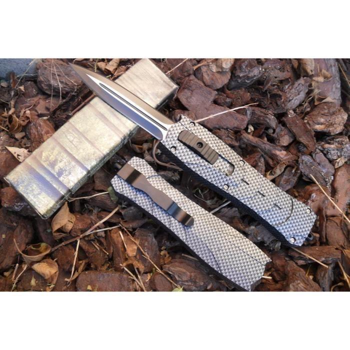 Couteau Éjectable Gris À Fermeture Et Ouverture Automatique 23 Cm Outdoor