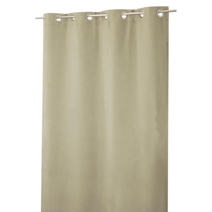 Rideau Obscurcissant Phonique 135 x 260 cm à Oeillets Uni Taupe Brun