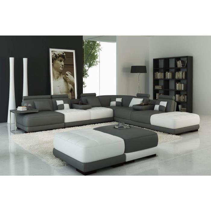 Canapé panoramique en cuir blanc et gris design MALAGA