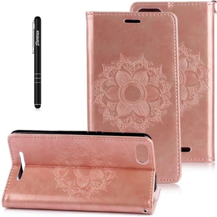 Coque Wiko Lenny 3 Étui Bookstyle Rose,Coque Wiko Lenny 3,[Mandala de Motif] Pure en Cuir Case à TPU Silicone Portable Dragonne St