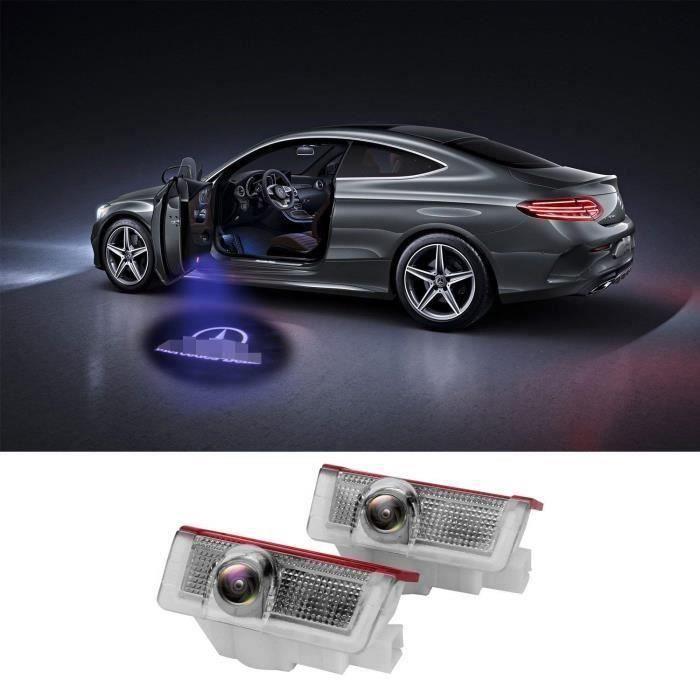 LiDiwee Porte feux kit LED Logo 3D Projecteur De Porte De Voiture 5wat pour Benz Classe A B C E M GL 4MATIC Sans Modifi (2 Pcs)