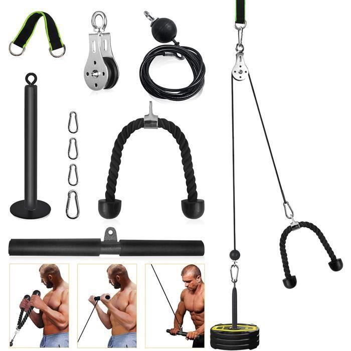 Musculation de Poulie pour Triceps 2 en 1 (Max 130kg ), Machine de Poulie Musculation Tirage, Utilisé pour Poids Musculation et Mise