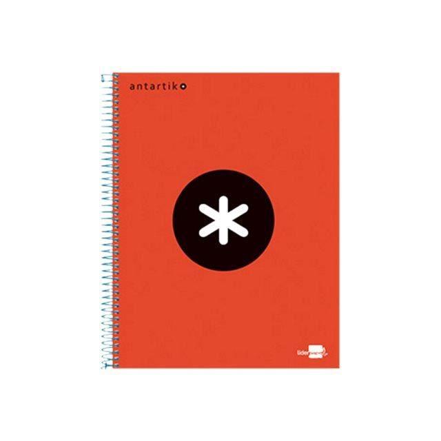 Liderpapel Antartik KD22 Cahier reliure à spirale A4 120 feuilles - 240 pages blanc petits carreaux 4 trous couverture rouge…