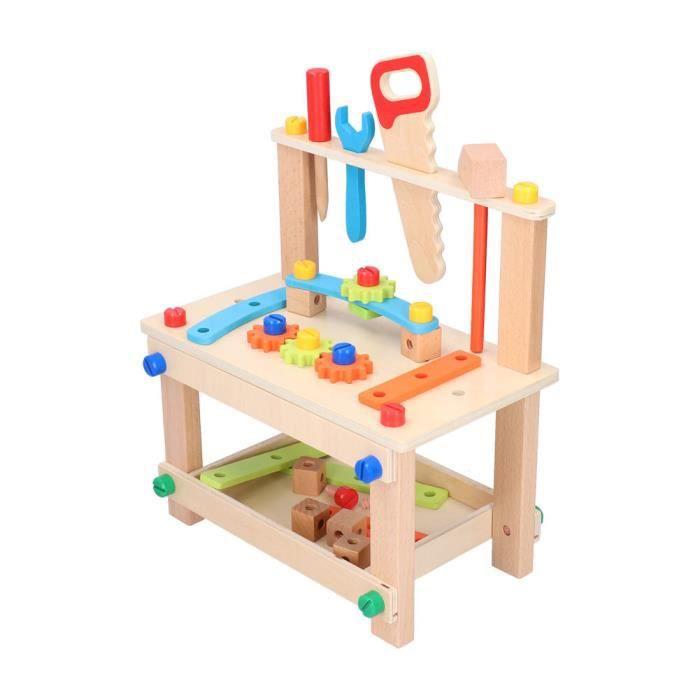 Qiilu jouet de construction de bâtiment Établi d'assemblage en bois jouet vis écrous construction bloc de construction jouet pour