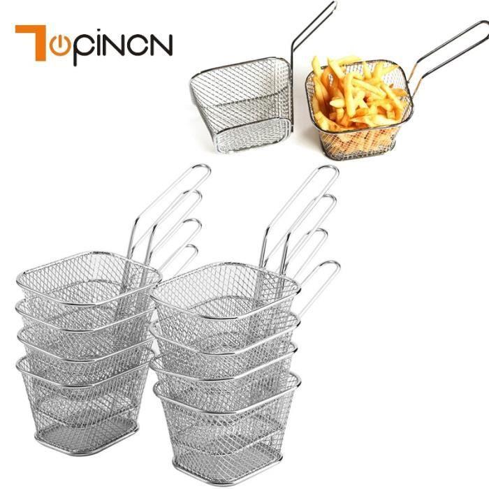 Accessoires de cuisine,8 pièces en acier inoxydable frites paniers à frire Mini passoire friteuse outils de cuisine Chef panier